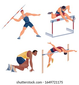 set of male athletes competing in jumping, throwing, running, isolated object on a white background,