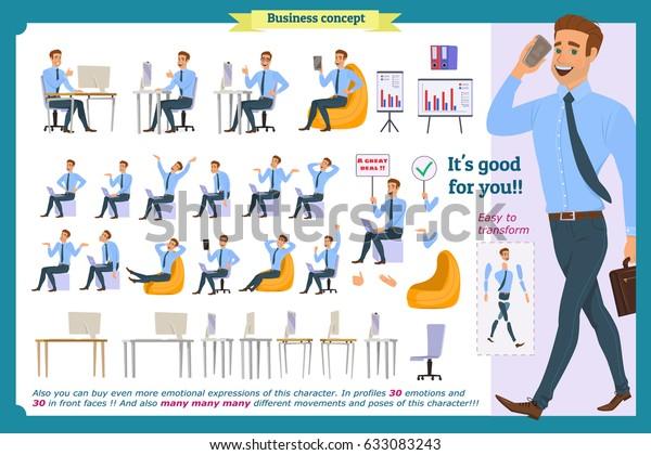 Set Male Businessmanpupil Character Generator Facepalm Stock