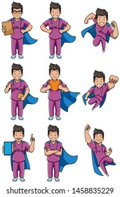 Set with male cartoon medical nurse in different poses.