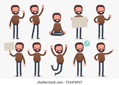 Set of male character in casual clothes in different poses: Vector illustration.