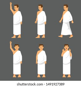 Set male character of hajj pilgrimage. Suitable for infographic.