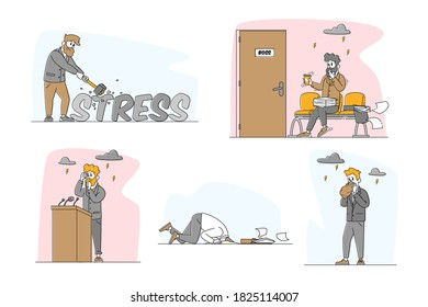 Set of Male Characters with Panic Attack Disorder in Public Place. Psychology, Solitude, Fear, Mental Health Problem. Depressed Sad Men Scared, Hiding Head in Ground. Linear People Vector Illustration