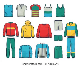 Set of male clothing, singlets, tracksuits,sweaters and etc., isolated on white background. Comfortable garment for sport.