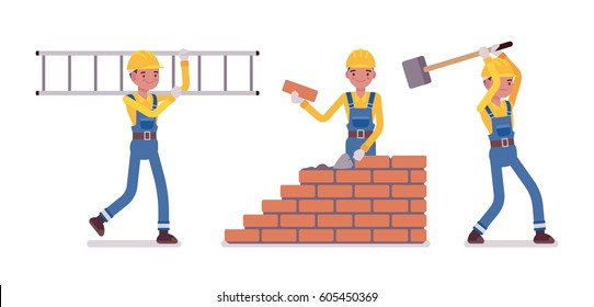 Set of male construction worker in a yellow protective hardhat, blue overall, carrying a ladder, builder laying bricks in wall, working with big metal hammer, full length, isolated, white background