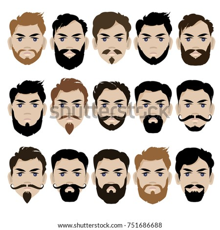 Set Male Different Hairstyles Beards Vector Stock Vector (Royalty ...