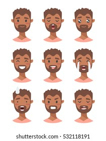 Set of male emoji characters. Cartoon style emotion icons. Isolated black guy avatars with different facial expressions. Flat illustration men emotional faces. Hand drawn vector drawing emoticon
