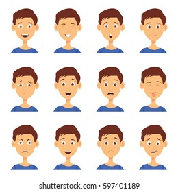 Set of male emoji characters. Cartoon style emotion icons. Isolated boys avatars with different facial expressions.