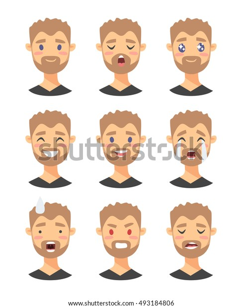 Set of male emoji characters. Cartoon style emotion icons. Isolated boys avatars with different facial expressions. Flat illustration men's emotional faces. Hand drawn vector drawing emoticon