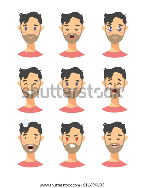 Set Male Emoji Characters Cartoon Style Stock Vector