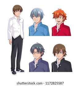 Set of male face anime