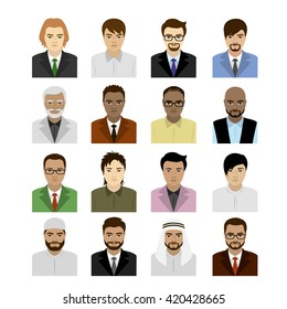 Set male faces of different races, vector illustration