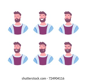 Set of male facial emotions. Bearded man character with different expressions. Vector illustration