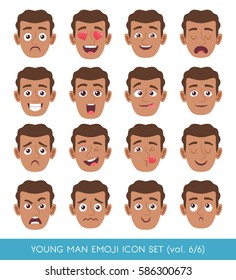 Set of male facial emotions. Black man face with different expressions. Vector illustration in cartoon style.