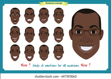 Set of male facial emotions. Black American man emotive character with different expressions.Vector illustration in cartoon style.People's faces, man, boy, person, user.Male characters.businessman.Joy