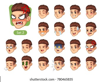 Set of male facial emotions cartoon character design with red hair and different expressions, sad, tired, angry, die, mercenary, disappointed, shocked, tasty, etc. vector illustration.