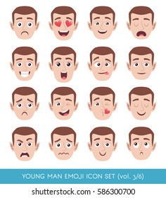 Set of male facial emotions. White man face with different expressions. Vector illustration in cartoon style.