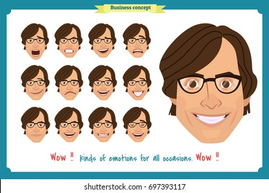 Set of male facial emotions. young man emoji character with different expressions. Vector illustration in cartoon style.People's faces, man, boy, person, user.Male characters.businessman.Joy, laughter