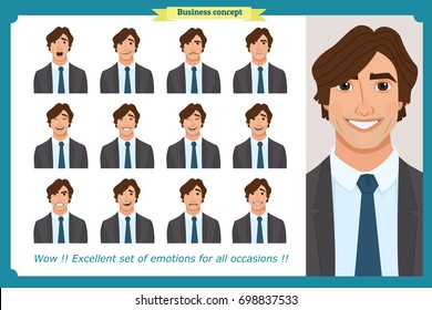 Set of male facial emotions. Young business man character with different expressions.Vector flat illustration in cartoon style.Peoples faces, men, person. Male characters.businessman. For animation.