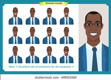 Set of male facial emotions.Black American business man character with different expressions.Vector illustration in cartoon style.Peoples faces, men, person. Male characters. For animation