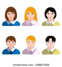 Set of male and female avatars. Vector illustration