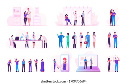 Set of Male and Female Characters during Covid19 Pandemic and Coronavirus Quarantine Self Isolation. Doctors Searching Vaccine in Laboratory, Couple Love and Fight. Cartoon People Vector Illustration