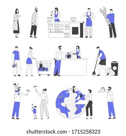 Set of Male and Female Characters Feeding Homeless People in Shelter, Handyman Service, Queue in Supermarket. Happy Family Painting Walls in New Home, Care of Earth Planet. Linear Vector Illustration