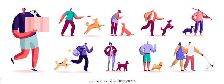 Set of Male and Female Characters Spending Time with Pets Outdoors. Men and Women Walking and Playing with Dogs, Relaxing, Care of Animals. Isolated on White Background. Cartoon People Illustration