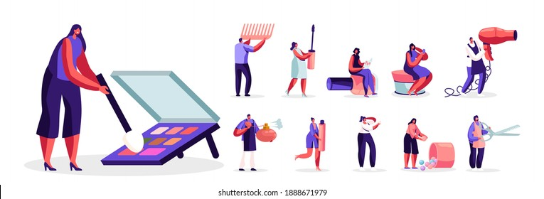 Set of Male and Female Characters Testing Skin Care Products, Working in Beauty Salon. Men and Women in Beautician Parlor Face Care and Beauty Isolated on White Background. Cartoon People Illustration