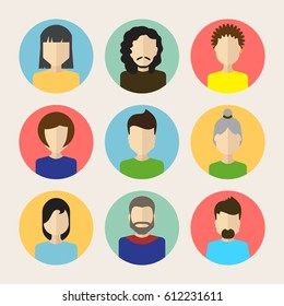 Set of Male And Female Faces Avatars or People Icon Collection. Human Persons in Flat Style for Profile, Business, Internet, Social Network, Community