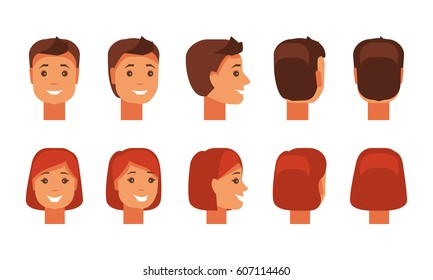 Set of male and female faces from different angles. A set of people with a happy expression. Flat vector illustration