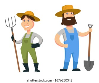 Set of male and female farmers. Cartoon characters isolated on white background.