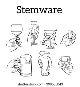 Set of male and female hands holding different types of glasses for strong and weak alcohol, a black and white sketch illustration, vector