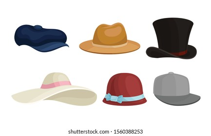 Set of male and female hats. Vector illustration on a white background.