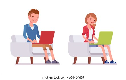 Set of male and female millennial, trendy haircut, smart casual dressing, sitting on armchair, working with laptop, coworking space, vector flat style cartoon illustration, isolated, white background