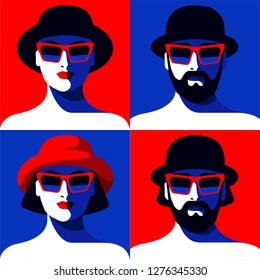 Set of male and female portraits. Abstract young woman and bearded man wearing hat and sunglasses. Vector illustration