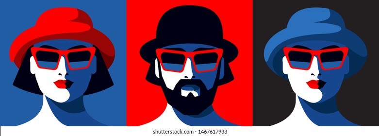Set of male and female portraits. Bearded man and two young women in hats and sunglasses. Vector illustration