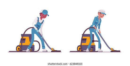 Set of male and female smiling young janitor in a blue suit, vacuum cleaning the floor, professional home and office service, isolated on white background