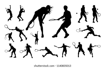Set of Male and Female Tennis Player silhouette vector illustration