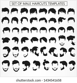 Set of male haircuts and hairstyles with a beard on a white background