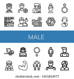 Set of male icons such as Soldier, Counter, Basketball player, Delivery man, Worker, Account, Relax, Yin yang, Genderqueer, Soccer player, Chariot, Mathematician, Muay thai , male