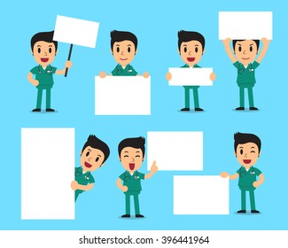Set of male nurse with blank white banner