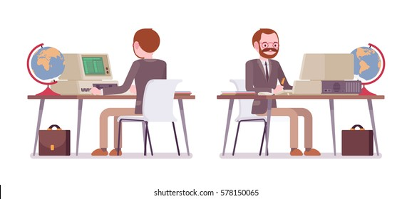 Set of male professional teacher sitting at the desk and working at the old computer, looking at screen, developing a lesson plan, globe at workplace, front and rear view, isolated, white background