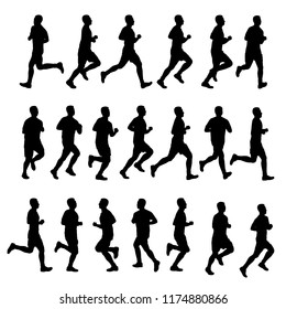 Set of male runner silhouette vector on white. Healthy concept.