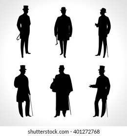Set of male silhouettes retro 1900s -1920s, upper classes. Vintage Gentlemen collection