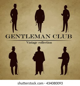 Set of male silhouettes retro 1900s -1920s, upper classes. Vintage Gentlemen collection. Retro Club Emblem