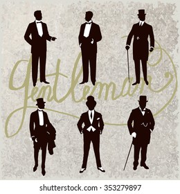 Set of male silhouettes retro1900s, upper classes. Vintage Gentlemen collection