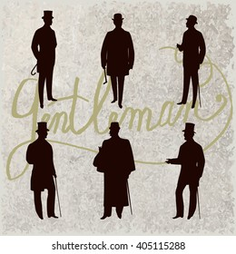 Set of male silhouettes retro1900s, upper classes. Vintage Gentlemen collection. Men's clothing. Retro Illustration