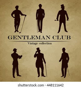 Set of male silhouettes retro1900s. Vintage Gentlemen collection. Retro Club Emblem