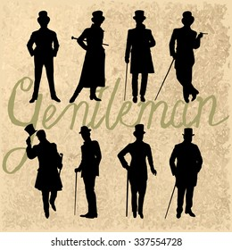 Set of male silhouettes retro1920's. Vintage Gentlemen collection