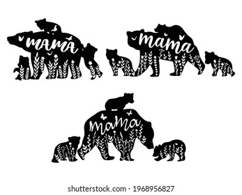 Set of mama bear and baby bears. Collection of silhouette mother bear with cute flower. Vector illustration for animal for mother day. Zoo design. Tattoos.